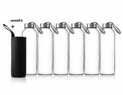 6Pack 18oz Juice & Beverage Glass Water Bottles No-Leak Caps