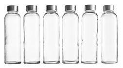 Epica Glass Beverage Bottles Set Of 6 Pack 18 Oz Metal Cap L