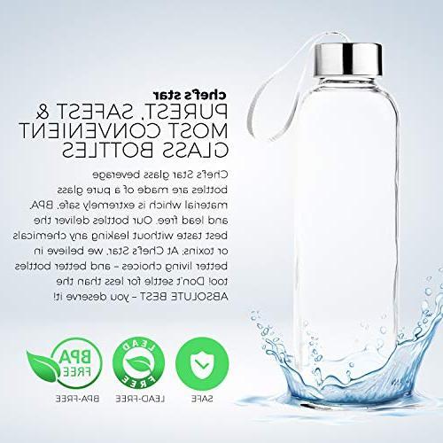 Chef's Glass Bottle Pack 18oz Bottles Juicer Leak Caps Carrying Loop 6 Black Nylon Protection Sleeve