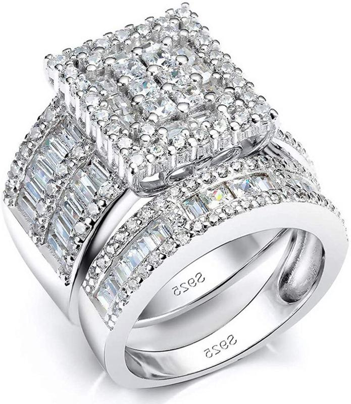 Pophylis Platinum Over Sterling Silver Big Womens Bridal Rin