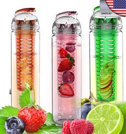 US 800ML Sports Infusing Infuser Juice Health Bottle Flip Wa